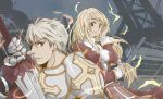 1boy 1girl armor bangs bio_lab blonde_hair breastplate cape closed_mouth commentary_request cross dress eyebrows_visible_through_hair gauntlets hair_between_eyes high_priest_(ragnarok_online) holding holding_sword holding_weapon juliet_sleeves long_hair long_sleeves looking_at_viewer looking_to_the_side lord_knight_(ragnarok_online) low-tied_long_hair margaretha_solin pauldrons puffy_sleeves ragfes ragnarok_online red_cape red_dress red_eyes sash seyren_windsor short_hair shoulder_armor sptbird sword two-tone_dress upper_body weapon white_dress white_hair white_sash