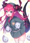 1girl absurdres alternate_costume blue_eyes blush breasts curled_horns detached_sleeves dragon_horns elizabeth_bathory_(fate) elizabeth_bathory_(fate)_(all) eyebrows_visible_through_hair fang fate/extra fate/extra_ccc fate/grand_order fate_(series) hair_between_eyes hair_ribbon happy highres horns long_hair long_sleeves looking_at_viewer pink_hair pleated_skirt pointy_ears purple_ribbon ribbon scan school_uniform skindentation skirt small_breasts smile solo suzuho_hotaru thigh-highs two_side_up white_legwear white_sleeves