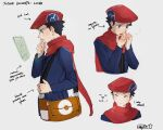 1boy arrow_(symbol) bag black_hair brown_bag character_name closed_eyes closed_mouth cold commentary english_text hand_up hands_together hands_up hat hazel0217 highres holding_strap long_sleeves lucas_(pokemon) male_focus multiple_views older pokemon pokemon_(game) pokemon_dppt red_headwear red_scarf scarf short_hair sketch smile thinking upper_body