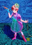 1girl apron aqua_gloves brown_hair chutohampa circuit_board dress full_body gloves hands_up hat holding looking_at_viewer original print_apron purple_dress purple_footwear red_eyes shoes short_hair short_sleeves single_glove smile soldering_iron solo standing