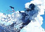 1boy 1girl ajimita ankle_socks arms_around_neck black_hair blue_theme closed_eyes clouds dutch_angle hug jumping long_hair original school_uniform short_hair skirt sky smile splashing twitter_username wading water water_drop