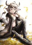 1girl :3 :q absurdres ahoge animal_ears bangs black_choker black_pants blush breasts choker chromatic_aberration closed_mouth cow_ears cow_girl cow_horns cow_tail crop_top eyebrows_visible_through_hair eyewear_on_head fang fur-trimmed_jacket fur_trim grey_eyes grey_hair groin hair_between_eyes hand_on_own_chest highres horns huge_filesize jacket knee_up latex latex_pants long_sleeves looking_at_viewer midriff mirage_(rairudiseu) money money_rain navel open_clothes open_jacket original pants shadow shirt short_hair sidelocks simple_background sitting skin_fang small_breasts smile solo sunglasses symbol_commentary tail tongue tongue_out white_background white_jacket white_shirt