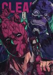 1boy 1girl \n/ ^_^ black_gloves blood blood_on_face bloody_clothes closed_eyes collared_shirt dorohedoro dress_shirt formal gloves gradient gradient_background hammer hand_up happy head_tilt height_difference highres iwamushi mask noi_(dorohedoro) portrait shin_(dorohedoro) shirt speech_bubble suit teeth text_focus tinted_eyewear veins weapon white_shirt