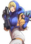1girl apex_legends bangs blonde_hair blue_bodysuit blue_eyes blue_gloves blue_headwear bodysuit breasts clash_kuro_neko eyebrows_visible_through_hair gloves gun highres holding holding_gun holding_weapon hood hooded_jacket jacket looking_at_viewer medium_breasts open_mouth orange_jacket prowler_smg scar scar_on_cheek scar_on_face smile solo submachine_gun trigger_discipline wattson_(apex_legends) weapon white_bodysuit