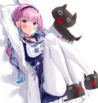 1girl ahoge animal_slippers arm_up bangs bed_sheet black_footwear blue_hair blue_hairband blue_sailor_collar blue_skirt blush braid breasts cat_slippers closed_mouth eyebrows_visible_through_hair frilled_sailor_collar frills hairband high-waist_skirt highres hololive jacket k_mugura knees_up long_hair lying medium_breasts minato_aqua multicolored_hair neko_(minato_aqua) on_back open_clothes open_jacket pantyhose pink_hair pleated_skirt sailor_collar shirt skirt slippers smile solo twin_braids twintails two-tone_hair very_long_hair violet_eyes virtual_youtuber white_background white_jacket white_legwear white_shirt