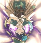 1boy absurdres androgynous bangs beret black_hair blue_eyes blue_hair blurry blurry_background breaking cape chain chained collared_cape corset crack electricity feathers flower frilled_sleeves frills genshin_impact gradient_hair green_headwear green_shorts hat hat_flower highres leaf long_sleeves looking_at_viewer male_focus multicolored_hair open_mouth pinwheel short_hair_with_long_locks shorts simple_background smile solo studio_hotaru tearing_up upside-down venti_(genshin_impact) vision_(genshin_impact) white_flower