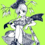 1girl :d apron bamboo bangs bow bright_pupils buttons dress eyebrows_visible_through_hair green_background green_eyes greyscale gurajio hand_on_hip hat holding_plant looking_at_viewer monochrome open_mouth shoes short_hair_with_long_locks short_sleeves simple_background smile solo standing tate_eboshi teireida_mai touhou v-shaped_eyebrows waist_apron white_pupils