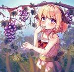 1girl animal_ears blonde_hair blush bow dog_ears dress eating food fruit grapes hair_bow hand_to_own_mouth highres kosobin looking_at_viewer original outdoors pink_dress pink_eyes ribbon short_hair solo sundress tree upper_body