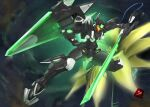 absurdres brave_commander_test_type els english_commentary floating fusion gundam gundam_00 gundam_00_a_wakening_of_the_trailblazer gundam_exia_repair_iv highres holding holding_sword holding_weapon huge_filesize looking_down mecha mobile_suit no_humans open_hand science_fiction shahnmono space sword visor weapon