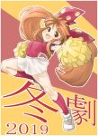 1girl 2019 asuka_120_percent breasts cheerleader commentary_request fang frilled_skirt frills full_body highres jumping kanji long_hair looking_at_viewer multicolored multicolored_background open_mouth orange_background orange_eyes orange_hair outstretched_arms pleated_skirt pom_poms red_background red_legwear red_shirt ribbon shirt shoes short_sleeves skirt sneakers solo suzuki_megumi translation_request twintails white_footwear zangetsumaru