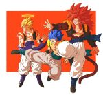 3boys abs bare_pecs biceps black_footwear blonde_hair blue_eyes blue_hair brown_fur dragon_ball dragon_ball_gt dragon_ball_super dragon_ball_super_broly dragon_ball_z fusion fusion_dance gogeta highres metamoran_vest monkey_boy monkey_tail multiple_boys muscular muscular_male no_nipples pants red_fur redhead relio_db318 spiky_hair super_saiyan super_saiyan_1 super_saiyan_4 super_saiyan_blue tail white_pants