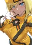 1girl ashiomi_masato blonde_hair blue_eyes close-up commentary_request dress eyebrows_visible_through_hair eyes_visible_through_hair fingerless_gloves gloves guilty_gear guilty_gear_xrd hand_on_own_chin hat highres millia_rage short_hair smile solo white_background yellow_dress yellow_headwear