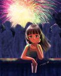1girl bangs blunt_bangs brown_eyes brown_hair chutohampa cup earrings fireworks glowing hand_up jewelry long_hair looking_at_viewer original shadow signature solo