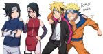 benteja black_eyes black_hair blonde_hair blue_eyes blue_hair boruto:_naruto_next_generations boruto:_naruto_the_movie glasses highres naruto naruto_(series) uchiha_sarada uchiha_sasuke uzumaki_boruto uzumaki_naruto whisker_markings whiskers
