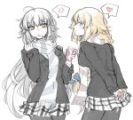 2girls ahoge alternate_costume anger_vein arms_behind_back artist_request black_jacket black_legwear blonde_hair blue_bow blush bow braid breasts casual closed_mouth commentary cup eyebrows_visible_through_hair fate/grand_order fate_(series) hair_between_eyes hair_bow heart highres holding holding_cup jacket jeanne_d'arc_(alter)_(fate) jeanne_d'arc_(fate) jeanne_d'arc_(fate)_(all) long_hair looking_at_another miniskirt multiple_girls open_mouth pantyhose parted_lips pocket scarf shirt simple_background skirt smile speech_bubble very_long_hair white_background white_hair white_shirt winter_clothes