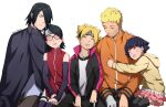 benteja black_eyes black_hair blonde_hair blue_eyes blue_hair boruto:_naruto_next_generations glasses naruto naruto_(series) uchiha_sarada uchiha_sasuke uzumaki_boruto uzumaki_himawari uzumaki_naruto whisker_markings whiskers