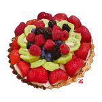 blueberry cake cream dessert food food_focus fruit kiwi_slice kiwifruit no_humans original pastry raspberry realistic simple_background still_life strawberry studiolg tart_(food) white_background