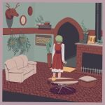 1girl boots border brick cactus carpet coffee_mug couch cup doorway facing_away fireplace footrest full_body gradient_border green_hair heshiko_disco highres indoors kazami_yuuka long_sleeves looking_to_the_side mug painting_(object) pipe plaid plaid_skirt plaid_vest plant potted_plant purple_border red_skirt red_vest short_hair skirt skirt_set solo standing table taxidermy touhou vest
