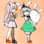 2girls animal_ears aqua_eyes bangs black_hairband black_jacket black_neckwear black_ribbon blazer bloomers bright_pupils bunny_tail commentary_request fake_animal_ears from_side full_body green_skirt green_vest hair_ribbon hairband highres jacket konpaku_youmu konpaku_youmu_(ghost) long_hair long_sleeves looking_at_another mokumoku22 multiple_girls pink_hair pink_skirt rabbit_ears red_eyes red_footwear reisen_udongein_inaba ribbon shirt shoes short_hair short_sleeves skirt socks sweatdrop tail thumbs_up touhou underwear vest white_legwear white_pupils white_shirt