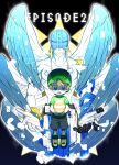 2boys :o absurdres angel angel_wings angemon bbb_(fabio8552) black_background blue_eyes brown_hair closed_mouth collarbone commentary_request cropped_legs digimon digimon_adventure: egg episode_number expressionless feathered_wings green_headwear green_shirt helmet highres jewelry male_focus multiple_boys multiple_wings open_mouth ring shirt shirtless shoes short_hair short_sleeves shorts spoilers takaishi_takeru wings wristband