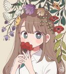 1girl bangs blush bright_pupils brown_hair commentary covering_mouth eyelashes fern flower flower_request flower_to_mouth highres holding holding_flower leaf long_hair long_sleeves looking_at_viewer nokanok original purple_flower red_flower shirt signature simple_background solo symbol_commentary upper_body white_flower white_pupils white_shirt yellow_background yellow_flower