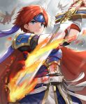 armor belt binding_blade_(weapon) blue_armor blue_eyes cape dragon fingerless_gloves fire_emblem fire_emblem:_the_binding_blade flaming_sword flaming_weapon frown furrowed_eyebrows gloves gonzarez headband highres knight polearm red_cape redhead reverse_grip roy_(fire_emblem) spear weapon wyvern