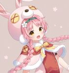 1girl :d animal_ears animal_hat anz32 bangs blue_hairband bow braid brown_background bunny_hat capelet commentary_request eyebrows_visible_through_hair fake_animal_ears floral_background flower fur-trimmed_capelet fur_trim hair_flower hair_ornament hairband hat long_hair looking_at_viewer mimi_(princess_connect!) open_mouth parted_bangs pink_capelet pink_hair pink_headwear pink_shirt princess_connect! princess_connect!_re:dive rabbit_ears shirt simple_background smile solo twin_braids twintails twitter_username upper_body very_long_hair white_flower yellow_bow yellow_eyes