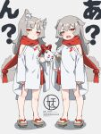 2girls animal animal_ear_fluff animal_ears bangs blush brown_eyes brown_footwear carrying_under_arm closed_mouth clothing_cutout commentary_request dog_ears dog_girl dog_tail dress eyebrows_visible_through_hair fangs geta grey_background grey_hair hair_between_eyes highres komainu kuro_kosyou long_hair long_sleeves looking_at_viewer multiple_girls open_mouth original parted_bangs pleated_skirt red_scarf red_skirt scarf shadow short_eyebrows shoulder_cutout skirt sleeves_past_wrists standing tail thick_eyebrows translation_request white_dress wide_sleeves