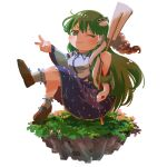 1girl ;) ahoge bangs bare_shoulders blush breasts bright_pupils brown_footwear closed_mouth collared_shirt detached_sleeves eyebrows_behind_hair floating_island flower flower_request frog_hair_ornament full_body gohei green_eyes green_hair hair_ornament hair_tubes hands_up highres holding holding_stick jiageya_(atojian_keikaku) knees_up kochiya_sanae large_breasts leg_up long_hair looking_at_viewer one_eye_closed pink_flower ribbon-trimmed_legwear ribbon_trim shirt sidelocks simple_background sitting smile snake_hair_ornament solo stick touhou v v-shaped_eyebrows very_long_hair white_background white_legwear white_pupils white_shirt wide_sleeves wing_collar