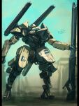 bottoms1237 clenched_hand gun highres holding holding_gun holding_weapon looking_up mecha no_humans original science_fiction shoulder_cannon solo standing visor weapon