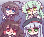 4girls ahoge akagi_(azur_lane) animal_ear_fluff azur_lane beret black_headwear black_kimono blue_eyes blue_hair blue_shirt braid brown_hair brown_tail chibi crossover eyebrows_visible_through_hair fan fate_(series) folding_fan girls_frontline green_eyes green_hair hat highres hk416_(girls_frontline) japanese_clothes kantai_collection kashimu kimono kitsune kiyohime_(fate) kyuubi long_hair looking_at_viewer multiple_girls multiple_tails open_mouth red_eyes shaded_face shigure_(kancolle) shirt simple_background tail white_kimono yandere