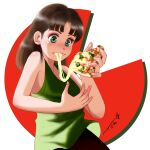 1girl bangs blush brown_hair cheese cheese_trail chutohampa eating food food_on_face green_eyes green_tank_top highres holding holding_food holding_pizza long_hair original pizza pizza_slice signature solo tank_top upper_body