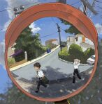 2boys bag black_pants car carrying_bag carrying_over_shoulder ground_vehicle highres house ikari_shinji kgeroua motor_vehicle multiple_boys nagisa_kaworu neon_genesis_evangelion pants power_lines road school_bag shirt street traffic_mirror trash_can walking white_footwear white_shirt