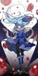 1other androgynous bangs bat_wings blood blood_drop blue_footwear blue_hair blurry blurry_foreground boots eyes_visible_through_hair full_body fur-trimmed_boots fur-trimmed_jacket fur-trimmed_sleeves fur_scarf fur_trim gradient gradient_background hair_between_eyes hanagata highres jacket long_hair long_sleeves looking_at_viewer one_eye_covered open_mouth rimuru_tempest scarf simple_background solo tensei_shitara_slime_datta_ken very_long_hair wings yellow_eyes