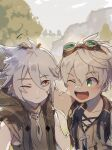 2boys bandaid bandaid_on_arm bandaid_on_face bandaid_on_nose bangs bennett_(genshin_impact) blush brown_gloves closed_mouth day gasugasuhatu genshin_impact gloves goggles goggles_on_head green_eyes grey_hair hair_between_eyes hand_on_another's_head highres hood hood_down long_hair multiple_boys one_eye_closed open_mouth outdoors petting razor_(genshin_impact) red_eyes scar scar_on_face shirt sidelocks silver_hair sleeveless sleeveless_shirt thumbs_up tree upper_body