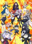 1boy 6+girls absurdres ahoge alcohol armor armored_dress artoria_pendragon_(all) baseball_cap black_dress black_legwear black_skirt blonde_hair blue_eyes boots breasts brown_hair carrot chaldea_uniform confetti corn_dog cosplay cup dress drinking_glass eyebrows_visible_through_hair fangs fate/grand_carnival fate/grand_order fate_(series) fou_(fate) fujimaru_ritsuka_(female) gauntlets gilgamesh gilgamesh_(caster)_(fate) glasses green_eyes hair_ornament hair_over_one_eye hair_scrunchie hat highres horns instrument jacket jeanne_d'arc_(alter)_(fate) jeanne_d'arc_(fate)_(all) key_visual large_breasts light_purple_hair long_sleeves looking_at_viewer maracas mash_kyrielight multiple_girls mysterious_neko_v mysterious_neko_w mysterious_neko_x mysterious_neko_y necktie nero_claudius_(fate) nero_claudius_(fate)_(all) official_art open_mouth orange_eyes orange_hair pantyhose pleated_skirt red_eyes scar scar_on_face scarf scrunchie shinai short_hair side_ponytail single_horn skirt skull_mask smile sword tail thigh-highs upper_teeth violet_eyes weapon white_footwear wine wine_glass yellow_eyes zettai_ryouiki