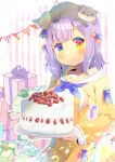 1girl animal animal_on_head animal_request bangs blue_eyes blue_neckwear blush box breasts brown_eyes cake character_request closed_mouth dress eyebrows_visible_through_hair food fruit gift gift_box heterochromia holding holding_plate indie_virtual_youtuber kouu_hiyoyo long_sleeves looking_at_viewer medium_breasts on_head pennant plate puffy_long_sleeves puffy_sleeves purple_hair sailor_collar sailor_dress sleeves_past_wrists smile solo strawberry string_of_flags striped striped_background vertical_stripes white_sailor_collar yellow_dress yellow_eyes