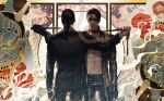 2boys abs black_eyepatch black_jacket black_pants collar dagger dragon dual_persona eastern_dragon eyepatch facial_hair fangs formal future gun handgun hannya highres holding holding_weapon jacket jiao_mao leash leash_pull leather leather_pants majima_gorou mirror_image multiple_boys open_clothes open_shirt pants pistol ponytail red_collar ryuu_ga_gotoku ryuu_ga_gotoku_0 ryuu_ga_gotoku_1 sliding_doors teeth tiger timeskip transformation weapon
