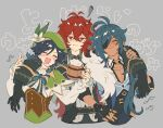 3boys androgynous arm_around_shoulder bangs beer_mug beret black_gloves black_hair blue_hair blush bow braid cape closed_eyes closed_mouth collarbone collared_cape collared_shirt corset cup dark_skin dark_skinned_male diluc_(genshin_impact) drooling drunk eyebrows_visible_through_hair eyepatch feather_boa fingerless_gloves flower foam frilled_sleeves frills genshin_impact gloves gradient_hair green_headwear grey_background hair_between_eyes hand_on_another's_arm hand_on_hip hat hat_flower highres holding holding_cup jacket kaeya_(genshin_impact) leaf long_hair long_sleeves looking_at_viewer male_cleavage male_focus mug multicolored_hair multiple_boys musical_note open_mouth ponytail red_eyes redhead shi_n_do_i shirt short_hair_with_long_locks simple_background smile squiggle toned toned_male translation_request twin_braids venti_(genshin_impact) white_flower white_shirt
