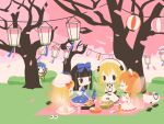 5girls antennae back_bow bag black_bow black_hair blonde_hair blue_dress blue_hair bottle bow bread cherry_blossoms chestnut_mouth chibi chopsticks closed_eyes cobalta cup dango dress drill_hair eating eternity_larva eyebrows_visible_through_hair fairy fairy_wings food frilled_dress frills green_shirt green_skirt hair_bow hairband hat hat_bow hime_cut holding holding_cup insect_wings lantern lily_white long_hair long_sleeves luna_child multiple_girls neck_ribbon obentou omelet onigiri open_mouth orange_capelet orange_hair paper_lantern peeking plate red_bow ribbon sandwich shirt shoes shoes_removed short_hair shrimp shrimp_tempura sitting skirt smile star_(symbol) star_print star_sapphire sunny_milk sushi tamagoyaki tempura thermos touhou wagashi white_bow white_dress white_headwear wings