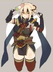 1girl ahoge armor black_bow black_scarf blonde_hair blush bow breasts cosplay dango earrings eyebrows_visible_through_hair fate_(series) food hair_between_eyes hair_bow highres iriehana japanese_clothes jewelry looking_at_viewer monster_hunter_(series) monster_hunter_rise okita_souji_(fate)_(all) scarf short_hair simple_background solo thigh-highs wagashi yellow_eyes