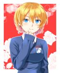 1girl bangs beni_(bluebluesky) black_neckwear blonde_hair blue_eyes blue_sweater braid closed_mouth commentary darjeeling_(girls_und_panzer) dress_shirt emblem eyebrows_visible_through_hair floral_background flower girls_und_panzer highres long_sleeves looking_at_viewer necktie outline outside_border red_background rose school_uniform shirt short_hair sleeves_past_wrists smile solo st._gloriana's_(emblem) st._gloriana's_school_uniform sweater tied_hair twin_braids upper_body v-neck white_outline white_shirt wing_collar