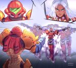 2girls afterimage arm_cannon cowboy_shot dark_skin dark_skinned_female dual_wielding elma_(xenoblade_x) full_body gameplay_mechanics gun handgun highres holding long_hair metroid multiple_girls outstretched_arms pistol samus_aran smile standing suneiaaa varia_suit weapon white_hair xenoblade_chronicles_(series) xenoblade_chronicles_x