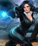 1girl ass belt bird black_choker black_dress black_hair breasts casting_spell choker clouds collar dark_sky dress electricity floating_hair glowing high_heels jewelry lightning looking_to_the_side medium_breasts medium_hair mole mole_under_mouth nextoad parted_lips patreon_username pendant puffy_sleeves raven_(animal) solo the_witcher the_witcher_3 thigh-highs thunder violet_eyes watermark yennefer