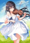 1girl bare_shoulders black_hair blue_eyes blue_sky blush bow_(instrument) clouds dress field grass highres holding holding_instrument instrument kinona long_hair music original outdoors parted_lips playing_instrument sky solo standing strapless strapless_dress violin white_dress