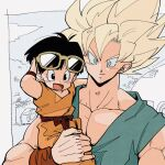 1boy 1girl bespectacled black_eyes black_hair blonde_hair close-up closed_mouth clouds cloudy_sky dot_nose dougi dragon_ball dragon_ball_z eyelashes fingernails glasses grandfather_and_granddaughter green_eyes hand_on_eyewear happy house kz_(dbz_kz) light_smile looking_afar muscular open_mouth pan_(dragon_ball) pectorals short_hair sky son_goku super_saiyan super_saiyan_1 tree upper_body very_short_hair wide-eyed wristband yellow-framed_eyewear