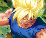 1boy ashes black_outline blonde_hair blue_shirt close-up closed_mouth collarbone dirty dirty_clothes dirty_face dragon_ball dragon_ball_z eyebrows_visible_through_hair face facing_viewer glowing glowing_hair green_eyes hair_over_one_eye highres kinokaki2020 looking_afar male_focus muscular outline pants scratches shirt son_goku spiky_hair super_saiyan super_saiyan_1 torn_clothes torn_pants upper_body