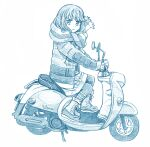 bangs bbb_(friskuser) blue_theme boots coat constricted_pupils from_behind ground_vehicle long_hair long_sleeves medium_skirt monochrome motor_vehicle on_vehicle open_clothes open_coat pantyhose parted_bangs riding scarf scooter shima_rin skirt smile yamaha_vino yurucamp