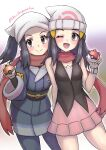 2girls absurdres black_hair commentary_request cowboy_shot dawn_(pokemon) female_protagonist_(pokemon_legends:_arceus) grey_eyes gupunetsu hat head_scarf highres holding holding_poke_ball japanese_clothes long_hair multiple_girls open_mouth poke_ball poke_ball_(legends) pokemon pokemon_(game) pokemon_dppt pokemon_legends:_arceus red_scarf scarf smile twitter_username watch watch