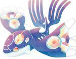26tumugi closed_mouth commentary_request gen_3_pokemon kyogre legendary_pokemon no_humans orange_eyes pokemon pokemon_(creature) primal_kyogre simple_background solo sparkle white_background